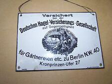 Ancien Plaque En Email Bouclier D'assurance Berlin Allemand Grêle Assurance