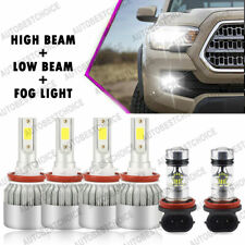 Combo H11 H8 H9 Led Headlight Hi-Low+ Fog Light Bulbs 6K for Toyota Tacoma 16-19