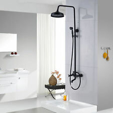 Rainfall Oil Rubbed Bronze Shower Faucet Set Dual Handles Tub Filler Shower Tap