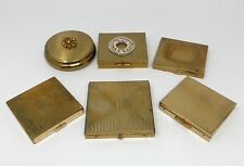 Lot of 6 Vintage Gold Compacts 1940s 1950s Art Deco Paris