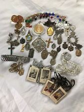 Vintage 32 pc. Lot of Roman Catholic Religious Medals, Crosses, Icon