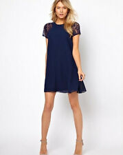 Womens Swing Chiffon Lace Short Sleeve One-Piece Shift Dress Tops Plus Hot