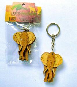 Key Tag Gift for Men Kids Women Keychain Wooden Traditional  handmade Elephant