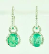 Emerald Diamond Earring Dangle 2.94 ct 14K Solid White Gold Dangling Natural