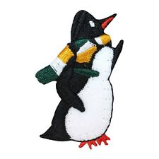 ID 8228B Winter Scarf Penguin Antarctic Bird Embroidered Iron On Applique Patch