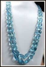 794 Ct Natural AQUAMARINE Necklace Sea Blue Tumbles Lustrous estate certified 2