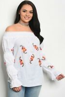 Women's Plus Size White Cold Shoulder Puffy Long Sleeve Embroidered Top 3XL NWT