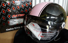 X-Rated Motorcycle Helmet - Model: V528 - Jet X1 - Size XS - Black and Pink