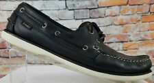 LOAKE MENS NAVY BLUE WAXY LEATHER CASUAL BOAT / DECK SHOES - 528 RARE - Size 9.5