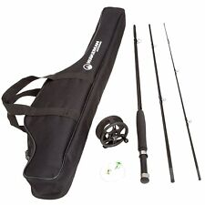 Fly Fishing Combo Kit with Carry Bag Wakeman Charter Series Black Case Set Rods