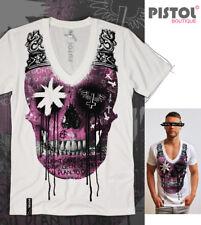 Pistol Boutique para hombre ajustada Blanco Graffiti V Profunda Dibujo Cráneo Corona T-Shirt
