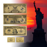 WR 1899 Series $1 $2 $5 Dollar Bill Note Black Eagle Chief 24K Gold Banknote Set