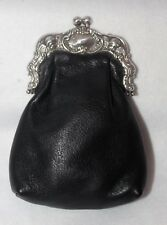 Vintage Brighton Stacy Kiss Lock Victorian Clutch Purse Black Leather FBB