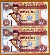 SET Sarawak, 2 x 50 dollars, 2017, Private Issue, matching S/Ns UNC > Two Tigers