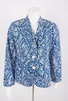 Talbots Women's Blazer Jacket sz 2 Blue White Two-Button Lightweight Paisley