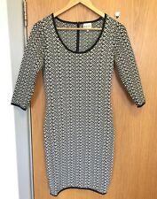 Reiss Ladies Size S Bodycon 3/4 Sleeve Dress Black White Bust 30""