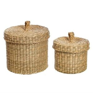 Seagrass Baskets with Lids - Set of 2 - Small Storage - Eco Design - Kitchen