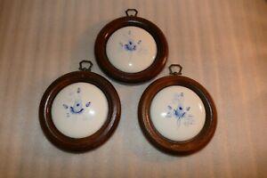 Vintage Round Wood Framed Porcelain Wall Plaques Blue White Roses Set of 3