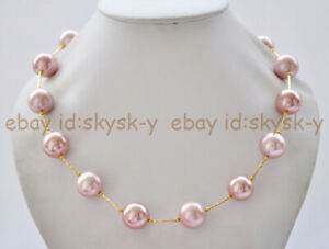 20'' 14mm Dark Pink South Sea Shell Pearl Round Beads 14K Gold-plated Necklace