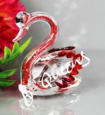 Crystal Cut Red SwarovskiElements Swan Ornament Home Decor Gift & Gift Box