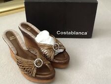 "Women's Shoes - Costablanca Net/Mesh 4"" Cork Wedge Gold or Gun Metal  US 9.5B"