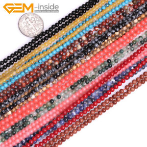 2mm 3mm 4mm Natural Gemstones Tiny Small Spacer Loose Beads For Jewellery Making