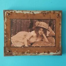 ORIGINAL STEAMPUNK ART Victorian Woman Hat RISQUE PHOTO Mixed Media COPPER MESH