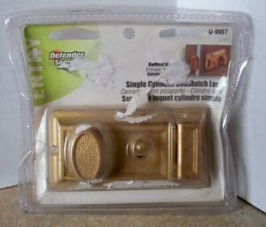NEW in PKG Brass Finish DEFENDER SECURITY Single Cylinder DeadLatch Lock U-9967