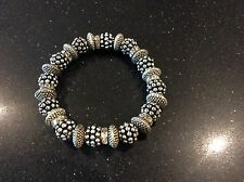 Matt Silver Beaded Stretch Bracelet/Bnwot