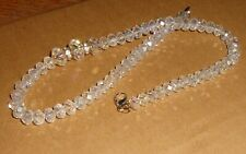 Vintage Faceted GLASS BEAD NECKLACE w Rhinestone Spacers Aurora Borealis Beads