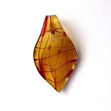 1 Rouge 55x30mm murano lampwork Verre Feuille Pendentif
