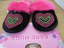 BARE HUGS~Black with Hearts SLIP ON SLIPPERS~Girls Medium (13-1)~NWT