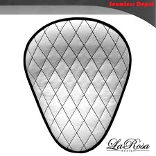 "LaRosa Chopper Bobber Seat - 13"" White Leather Diamond Stitch Harley BaSICK"