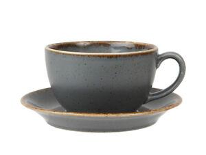 "Porcelite Seasons Storm 9oz Bowl Shaped Cups & 6.25"" Saucers.  Box of 6."