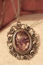 Swirl Seashells Rim Faceted Violet Speckle Flower Silvertone Pendant Necklace