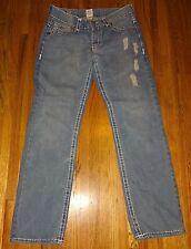 TRUE RELIGION JOEY Super T Blue Jeans Size 34 White Stitching