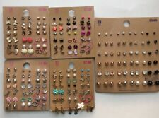Lot of 114 Pairs of Studs and Dangle Earrings Hypo Allergenic New - B