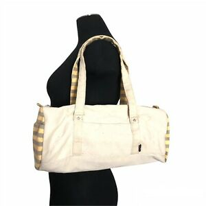 Authentic Agnes B Small Duffle Shoulder Bag Cotton Yellow Stripes Made In Japan