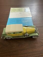 FRANKLIN MINT 1930 DUESENBERG J DERHAM TOURSTER Yellow & Green 1:24 Scale Papers