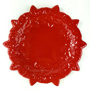 Temptations Tara Candle Plate Red Snowflake Poinsettia Christmas Candle Plate