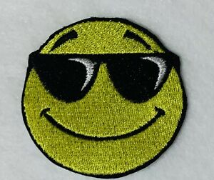 EMBROIDERED PATCH SMILEY FACE WITH SUNGLASSES EMOJI IRON OR SEW ON BADGE