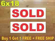 "6""x18"" SOLD REAL ESTATE RIDER SIGNS Buy 1 Get 1 FREE 2 Sided Plastic"