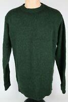 Pendleton Mens Large 100% Shetland Wool Hunter Green Crewneck Knit Sweater