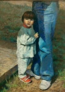 "Beatriz Moisset - Pastel & Chalk Painting of ""Refuge of Apprehensive Girl"""