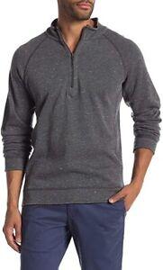 Tommy Bahama Flipshot Reversible 1/4 Zip Pullover, Charcoal Heather & Black XL