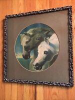 "Vintage John Herrings Pharoahs Horses Print Beautiful Ornate Frame 22""x22"""
