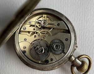 Schöne Herren Taschenuhr System Glashütte 800er Silber Gehäuse - Uhr Remontoir