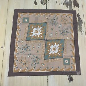 SOUTHWEST BANDANA - Vtg Tan Mauve Blue Geometric Shape Handkerchief, Made in USA