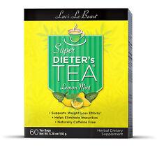 Laci Le Beau Super Dieter's Tea Bags - Lemon Mint 60 ea, Caffeine Free NIB