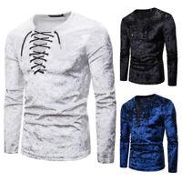 Stylish Men's Velvet Long Sleeve T-shirt Slim Fit Casual Dress Tee Shirts Tops